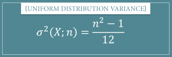 The variance formula for a discrete uniform distribution with input variable x and parameter n