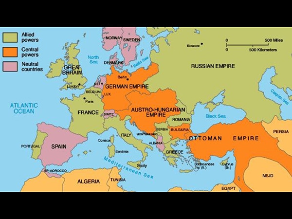 A map of Europe at the start of World War I