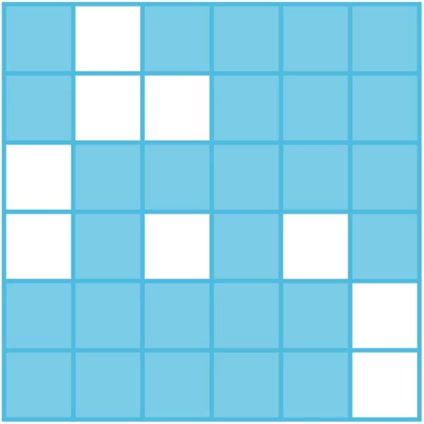 A 6 by 6 square consisting of 36 small squares (9 of which are removed), representing the key of the Grille cipher used during WWI